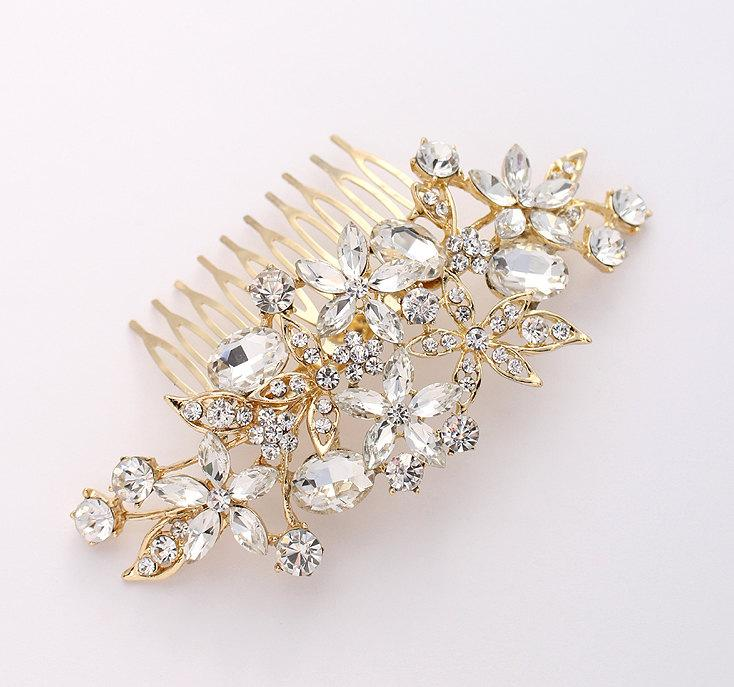 زفاف - Gold Hair Comb Crystal Bridal Hair Piece Wedding Jewelry Rhinestone Gold Hair Combs Gatsby Old Hollywood Bridal Headpiece