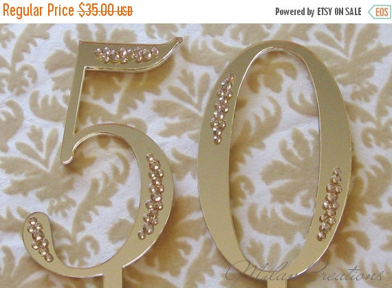 Mariage - ON SALE Gold Partial Crystal Number Cake Topper for Anniversary or Birthday