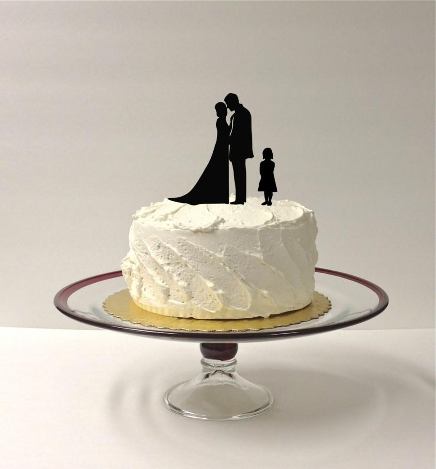 DAUGHTER + BRIDE + GROOM Silhouette Wedding Cake Topper ...