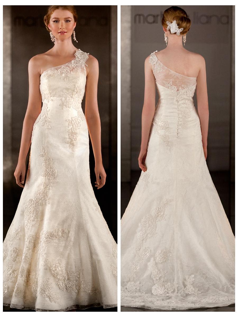 A Line Lace Appliques One Shoulder Wedding Dress 2453158 Weddbook