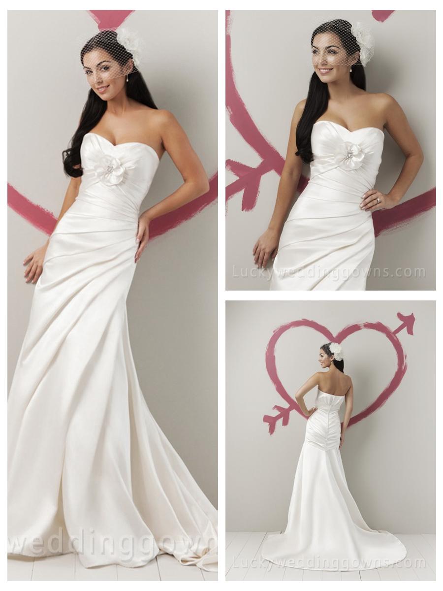 زفاف - Summer Fairytale Satin Strapless Sweetheart Wedding Dress with Asymmetrical Draped