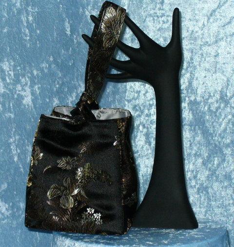 Mariage - Bridal or Formal Purse - Black, Bronze & Platinum Satin Bag