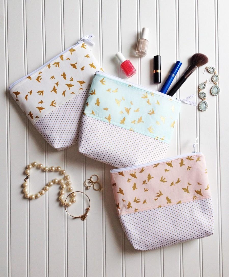 زفاف - Cosmetic Bag Pouches, Gold Glitz pink makeup bags, gold cosmetic bags, metallic zipper pouch, bridesmaid makeup bag