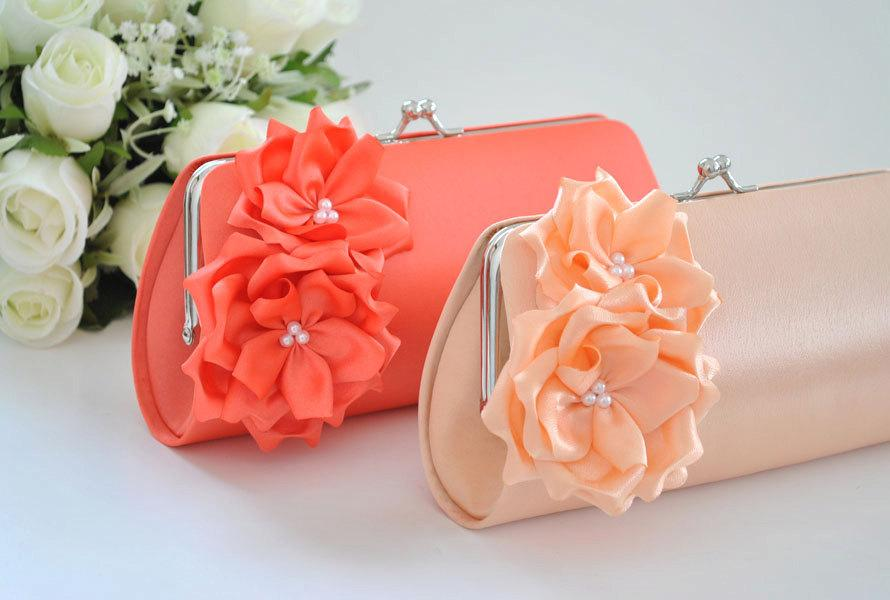 Mariage - Peach / Living Coral - Bridesmaid Clutch / Bridal clutch - Choose the color you like