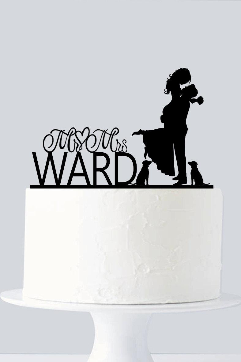 Mariage - Couple Wedding Cake Topper - Acrylic Cake Topper - Mr & Mrs - Bride and Groom Kissing - Custom Dog Cake Topper A940
