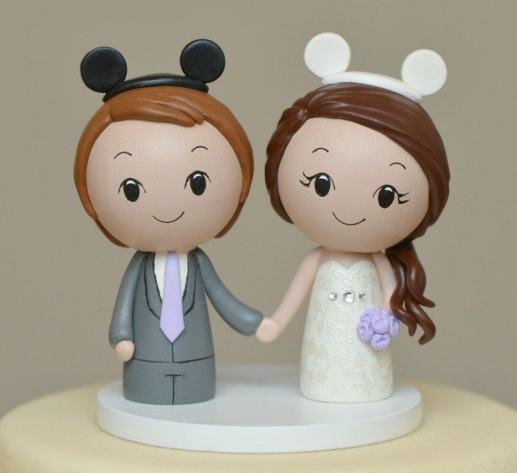 Wedding - Topper for the month of February- Disney inspired Cake Topper  -- Kokeshi Wedding Cake Topper - Wood Personalized  Cake Topper