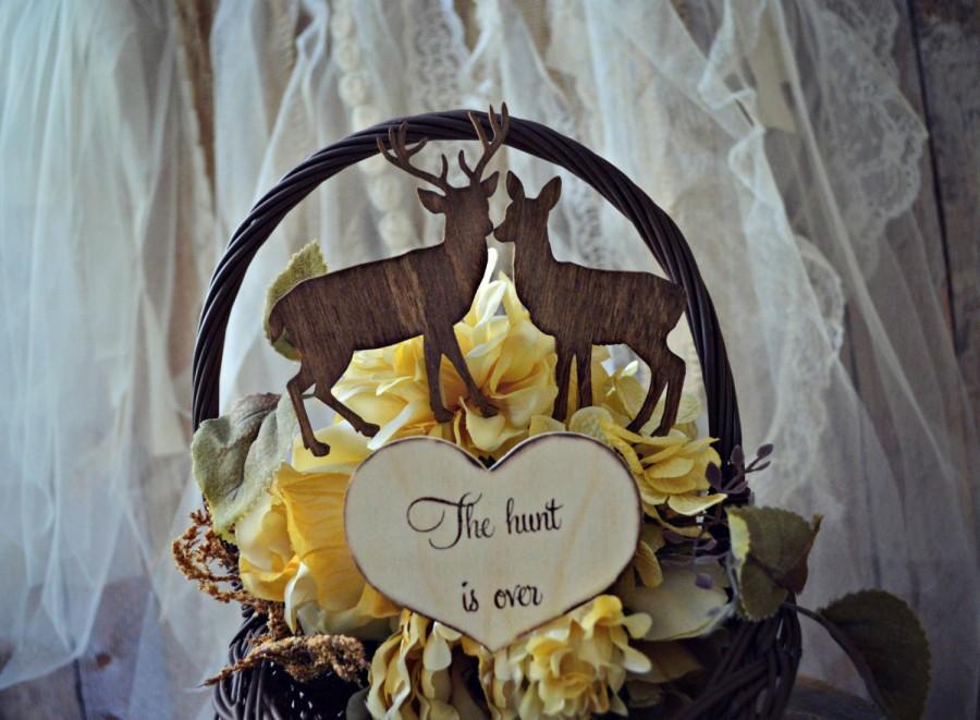 Hochzeit - Buck and doe bride and groom-deer wedding cake topper-hunter wedding cake topper-hunting cake topper-deer wedding-rustic wedding
