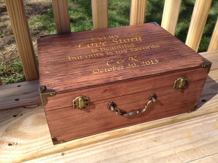 Свадьба - Large Engraved Wooden Card Box Suitcase Card Holder Rustic Wedding