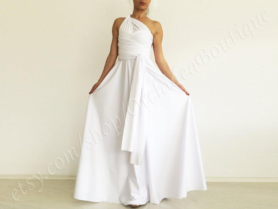 Wedding Dress White Convertible Maxi Formal Dress Gown ...