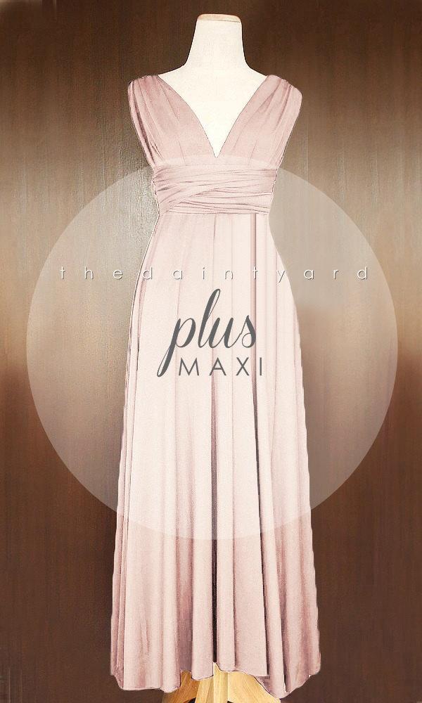 Свадьба - MAXI Plus Size Nude Pink Bridesmaid Dress Convertible Dress Infinity Dress Multiway Dress Wrap Dress Wedding Dress Twist Dress Prom Dress