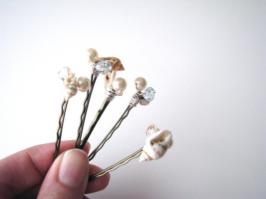 Wedding - Beach Hair Pins Seashells Pearls and Crystals
