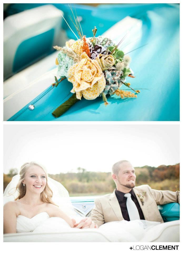 Mariage - Handmade Fabric Flower Custom Wedding Bouquet