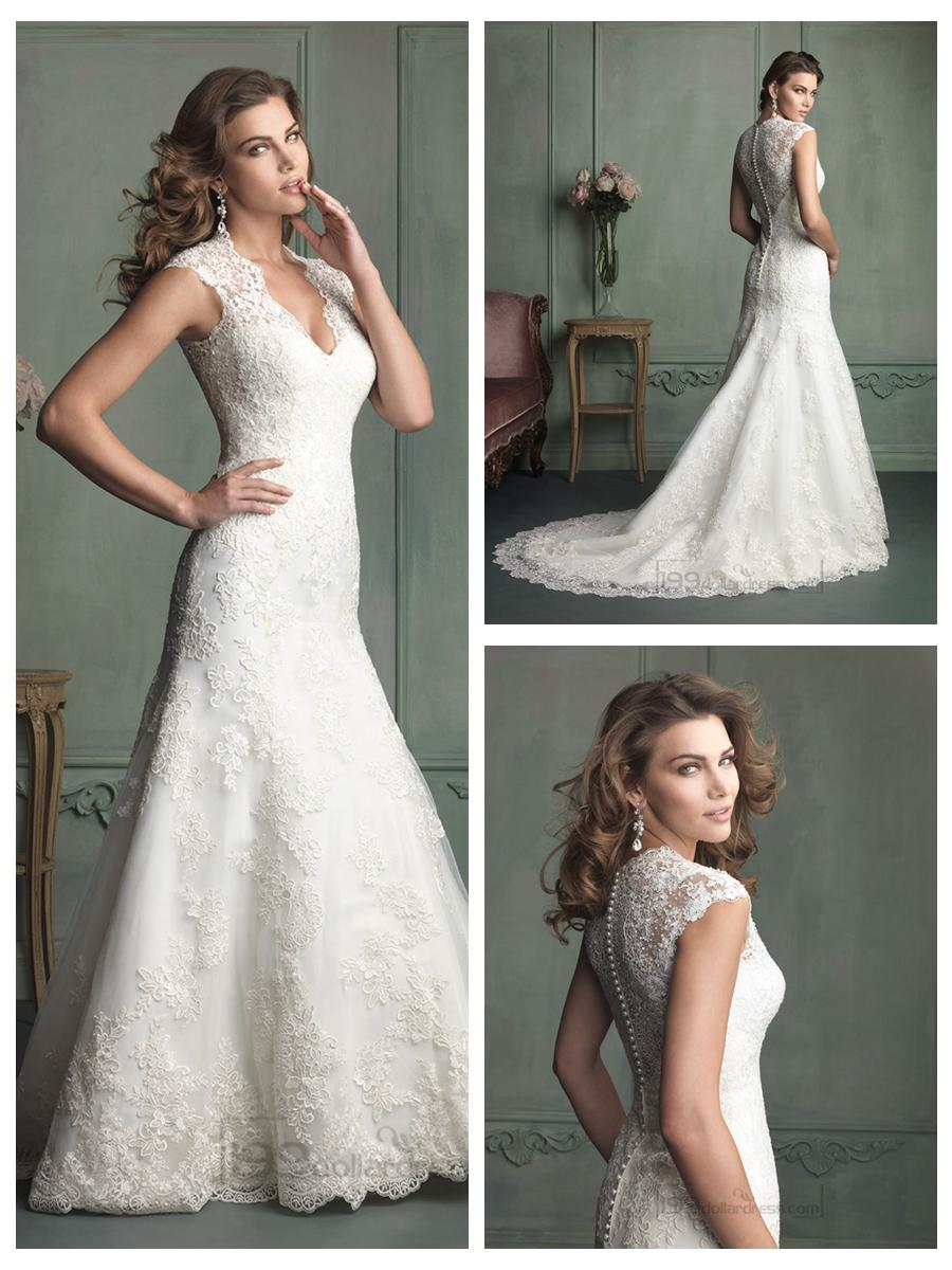 Mariage - Cap Sleeve Plunging Neckline Mermaid Wedding Dresses with Paneled Back