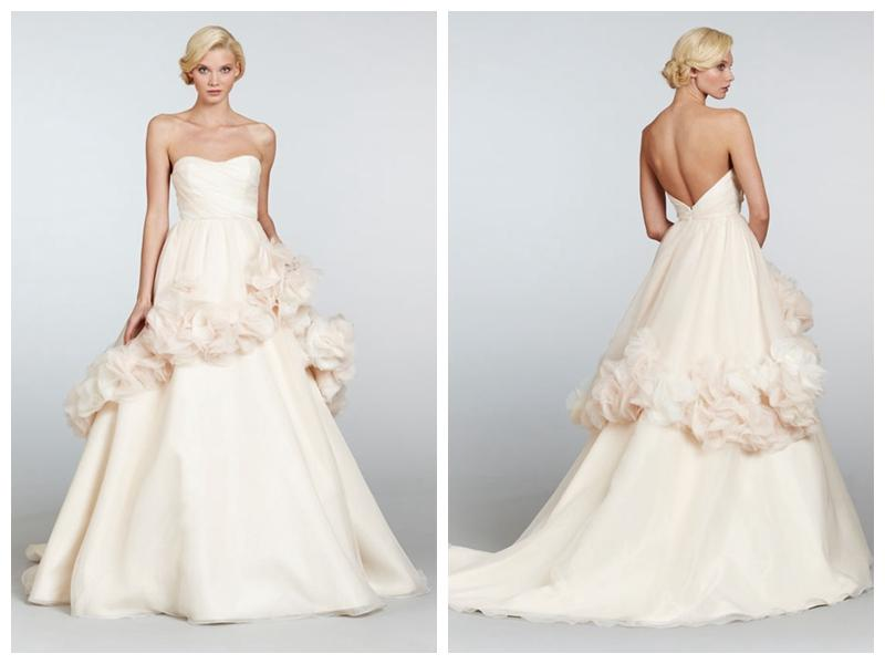 Wedding - Creamsicle Organza Wedding Dress with Ruched Bodice and Floral Peplum