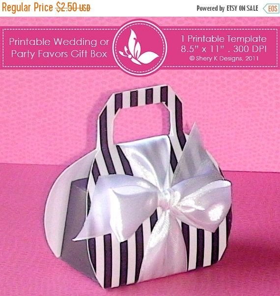 زفاف - 50% off Printable wedding or party favors gift box ////// 001
