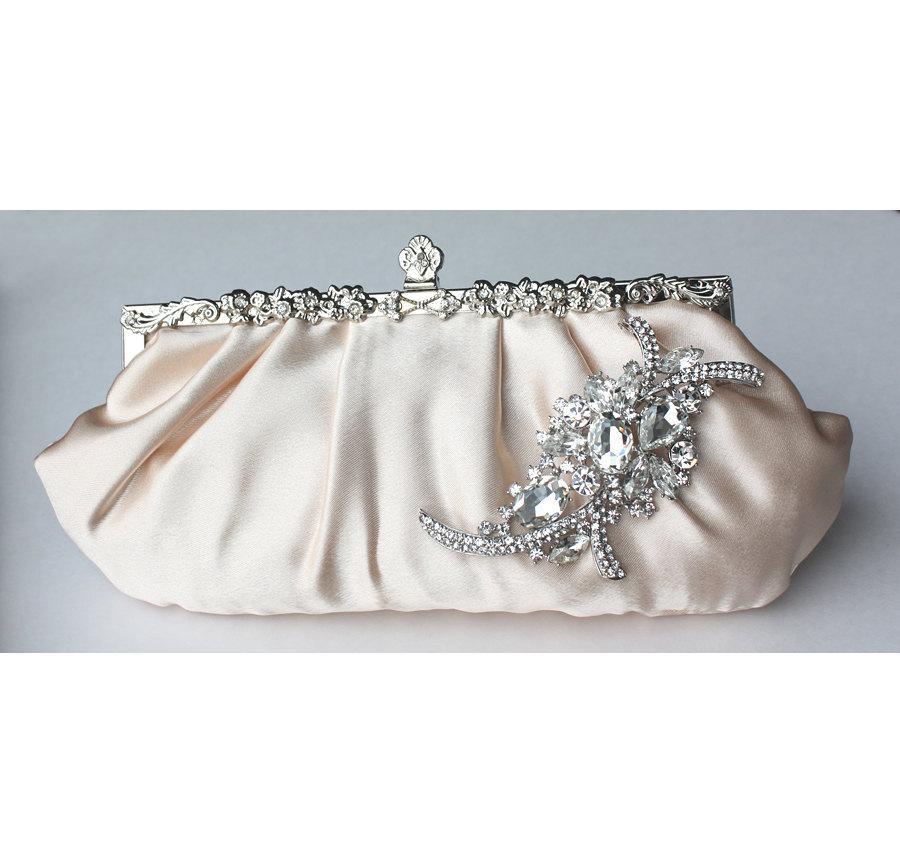 زفاف - Bridal Clutch - champagne satin with Swarovski Crystal feather brooch