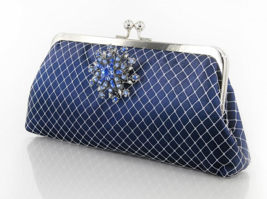 زفاف - Sparkle-licious - Satin Navy Clutch with Navy Rhinestone Brooch - 8-inch