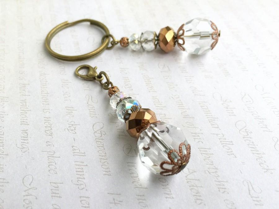 زفاف - Crystal Keychain, Small Keychain,Crystal Wedding Favors,Communion Favors,White party favors,Clip on charm,White bag charm,Beaded key chain