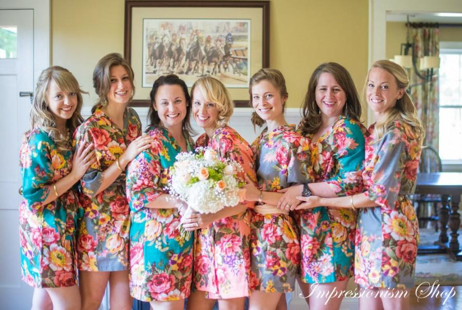 Set Of 10, For Bride Kimono Robes, Bridesmaids Robes, Foral Robe And ...