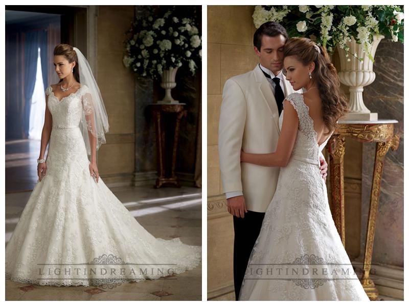 Wedding - A-line Cap Sleeves V-neck and V-back Wedding Dresses
