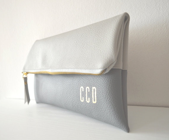 Wedding - Light grey and grey personalized clutches, Monogrammed clutch bag, Wedding clutch purse, Bridal purse