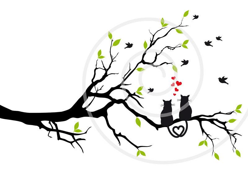 Wedding - Wedding invitation, cats in love wedding tree, bird, pet, printable wall art, art print, poster, gift for couples, instant download