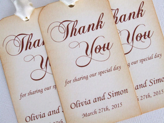Personalized Wedding Favor Gift Tags Set Of 6 Thank You