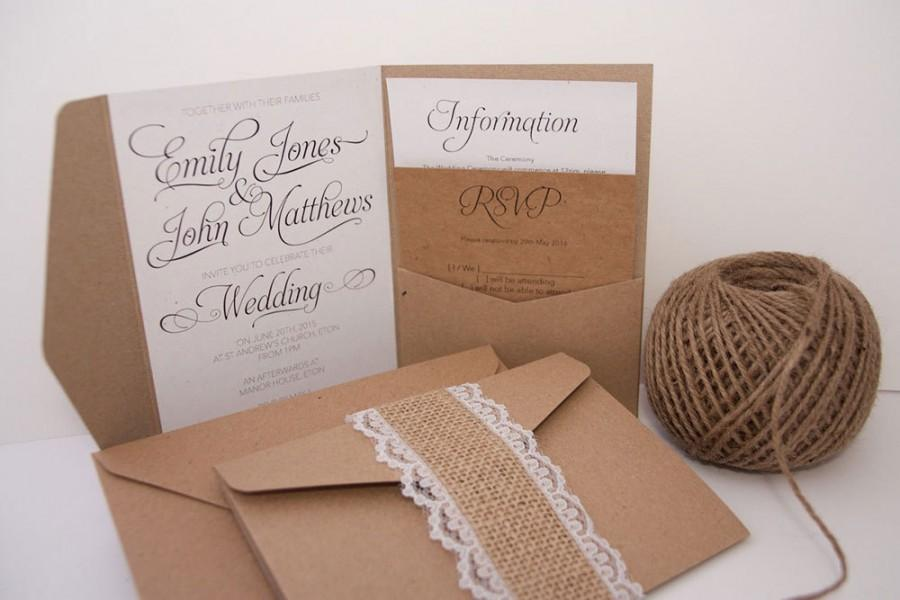 Kraft elegant swirl burlap lace pocket fold wedding invitation kraft elegant swirl burlap lace pocket fold wedding invitation pack filmwisefo