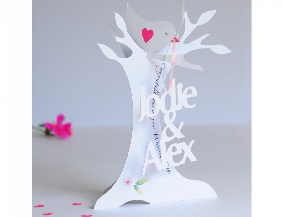 Свадьба - Personalised  3.D Paper Cut Wedding Card .