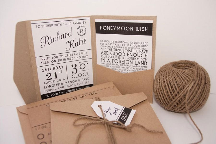 Modern Typography Pocket Fold Wedding Invitation Pack #2453332 ...