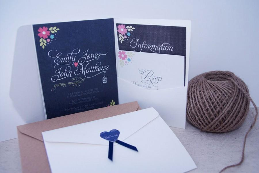 Mariage - Blue & pink floral ribbon pocket fold wedding invitation pack