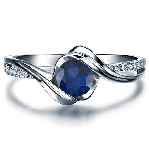 Hochzeit - Blue Sapphire Engagement Ring 14k White Gold with Diamonds September Birthstone