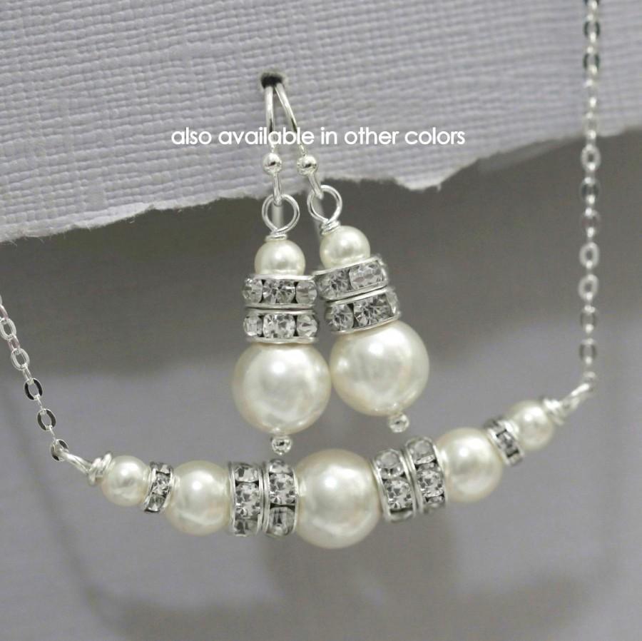 Mariage - CUSTOM COLOR Swarovski Bridesmaid Jewelry Set, Swarovski Bridal Jewelry Set, Bridesmaid Jewelry, Bridesmaid Gift, Mother of the Bride Gift