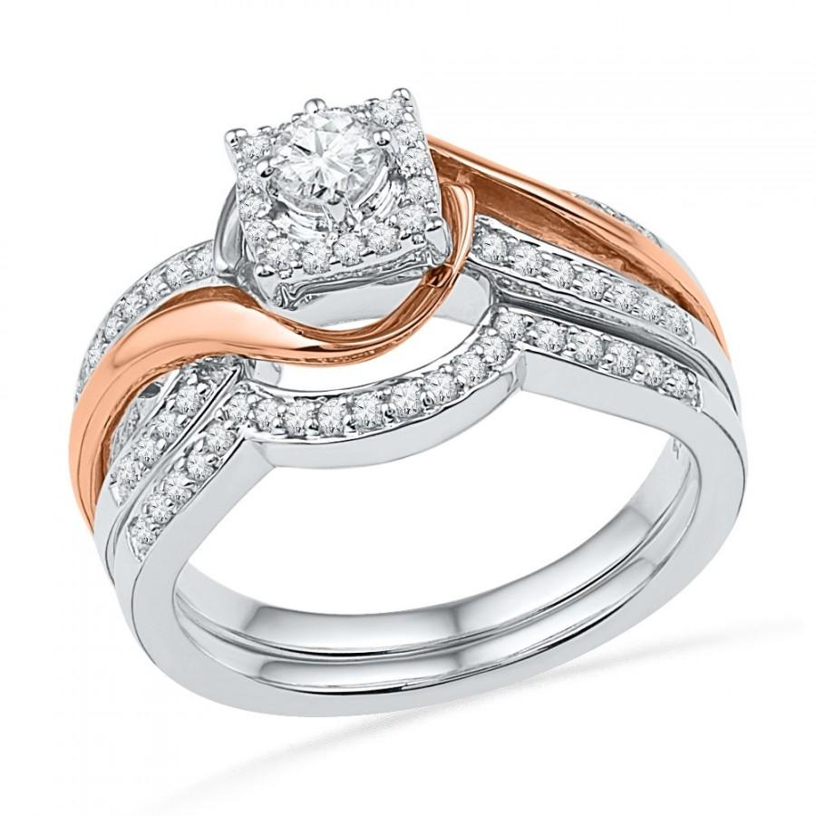 Mariage - 1/2 CT. T.W. Two Tone Square Engagement Ring Set in 10k, 14k, or Sterling Silver, Two Tone Diamond Ring For Women