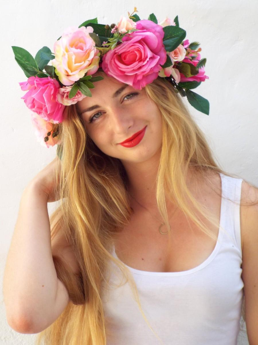 Pink Flower Crown Wedding Hair Accessories Big Floral Headband