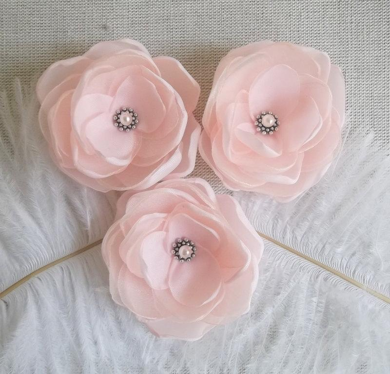 زفاف - Blush Pale Pink flowers in handmade Bridal Bridesmaids Flower Girls Hair Clip Romantic Weddings Vintage look Dress sash accessory Gift Set 3