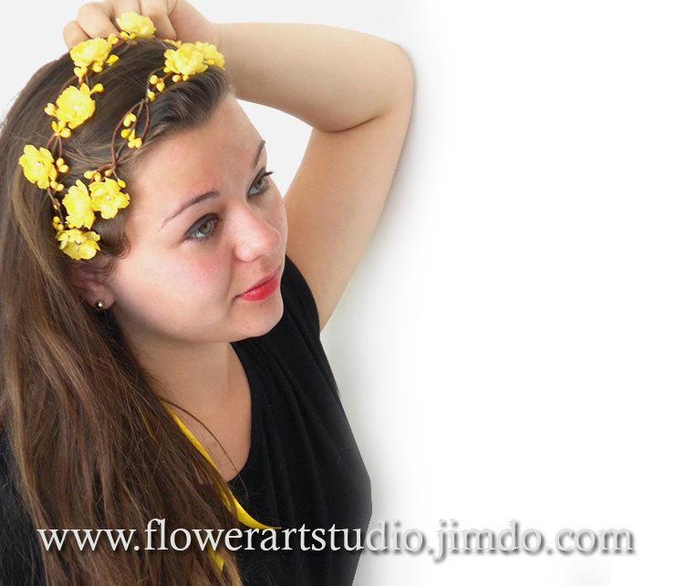 Yellow Floral Crown Yellow Headband Yellow Bridal Floral Crown