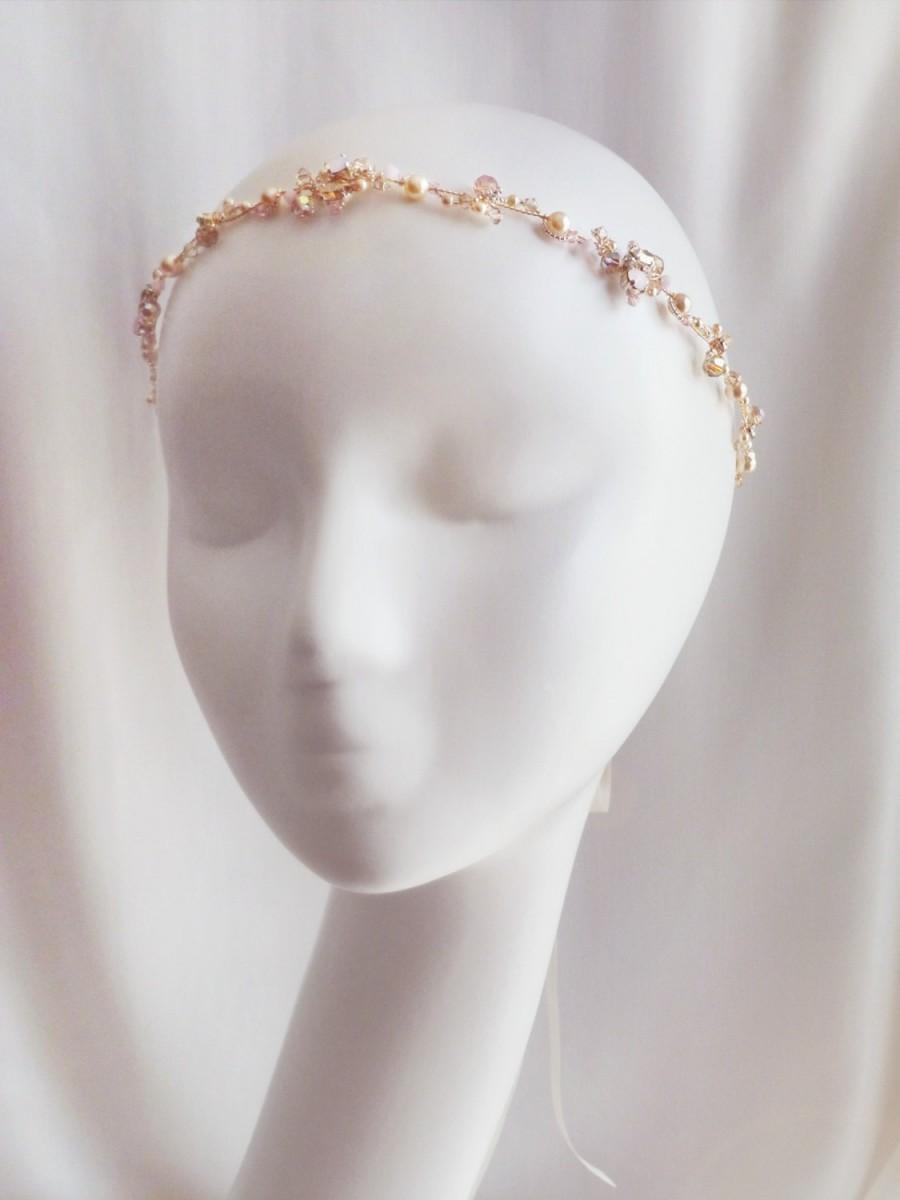 Wedding - Light Gold and Pink  Opaline Crystal Bridal Headband   -  Sparkling Light Gold Wedding Crystal Head Piece