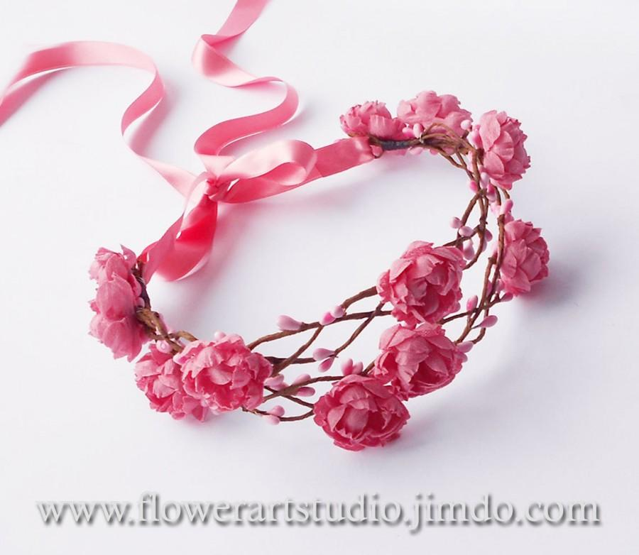 Girl Woodland Flower Crown Pink Flower Girl Crown Baby Flower