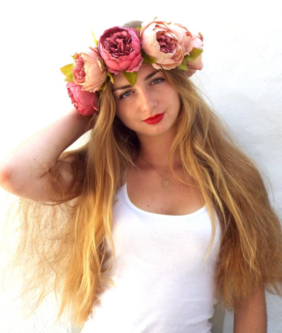 Big Flower Crown Pink Bridal Headpiece Peonies Hair Wreath
