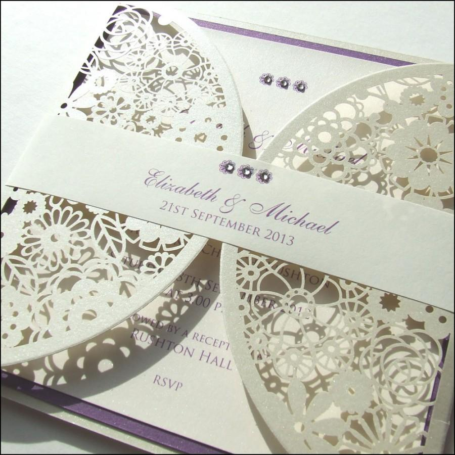 Laser Cut Wedding Invitation With Paper Belly Band #2453426 - Weddbook