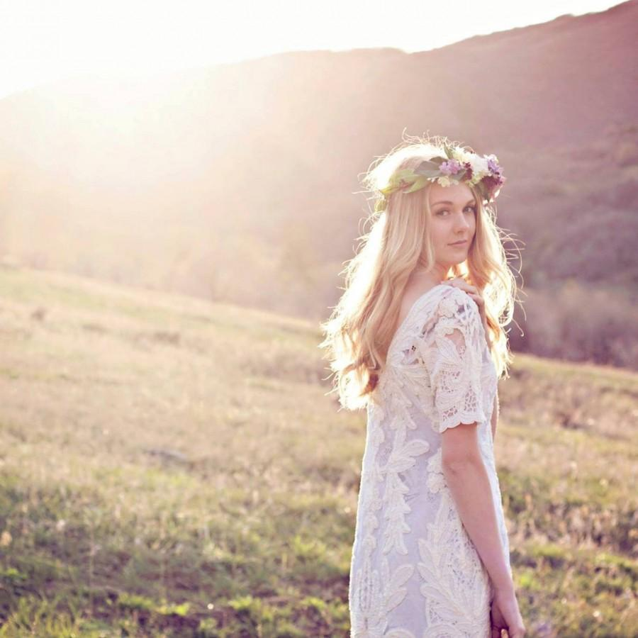 Flower Halo Rose And Lilac Natural Flower Crown Boho Bridal