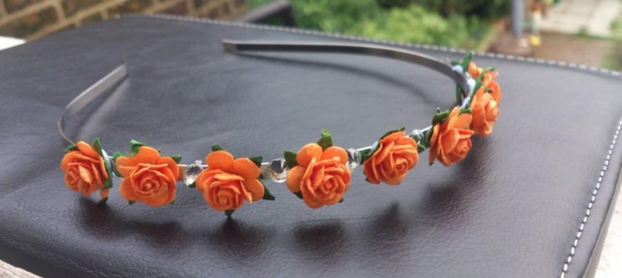 Halloween Pumpkin Bride Bridesmaid Wedding Tiara Hair Band Roses Hand Made  Diamantes Orange Flower Girl 5e0b9fb277b