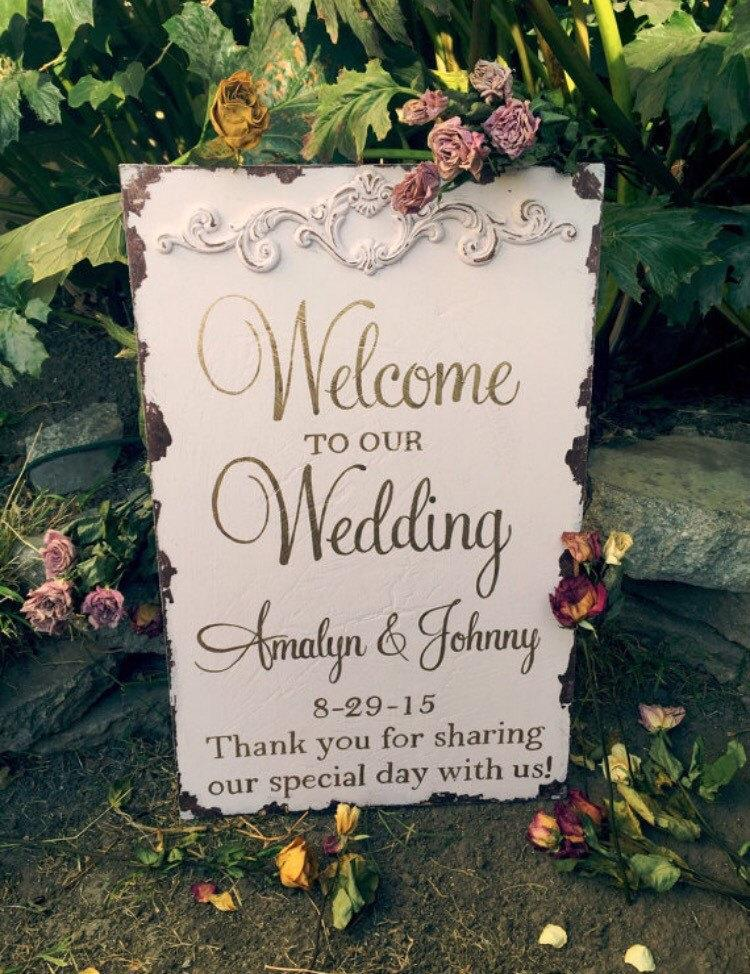 Rustic Welcome Wedding Sign Blush And Gold