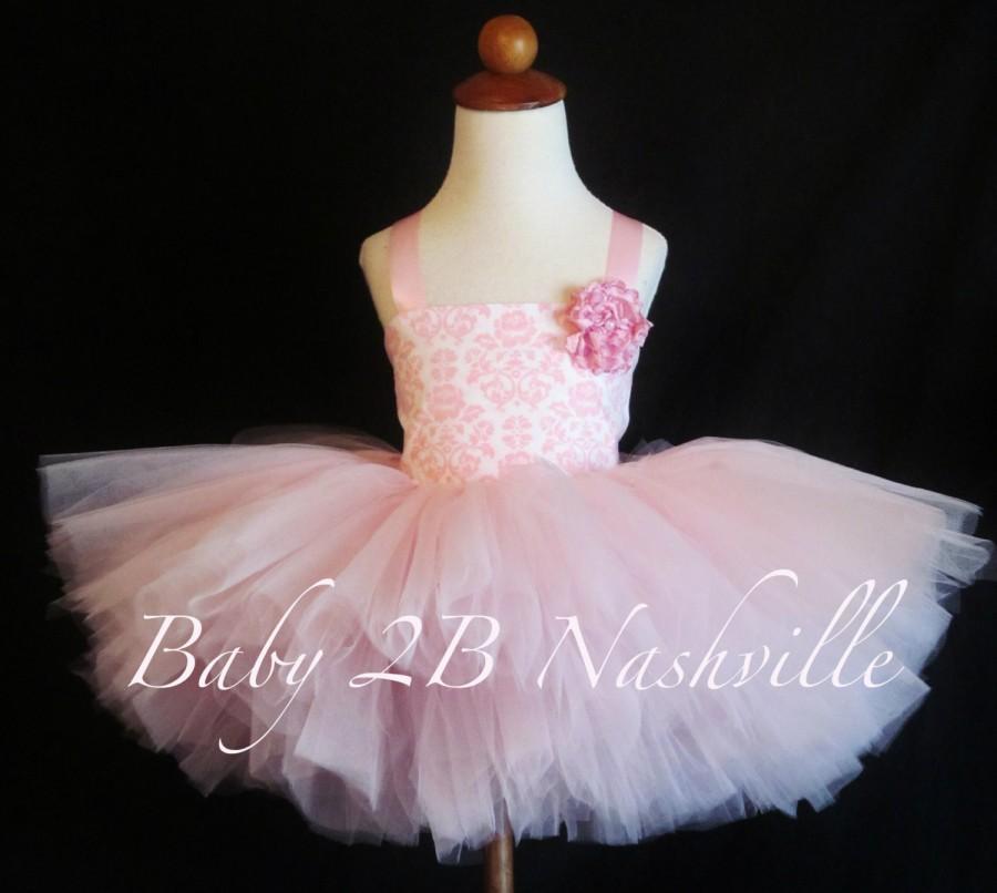 زفاف - Wedding Flower Girl Pink Damask Birthday Tutu Dress  All Sizes