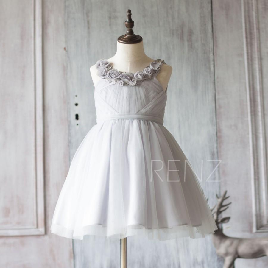 Düğün - 2015 Grey Junior Bridesmaid Dress, Light Gray Mesh Flower Girl Dress, a line Puffy dress knee length (JK001)
