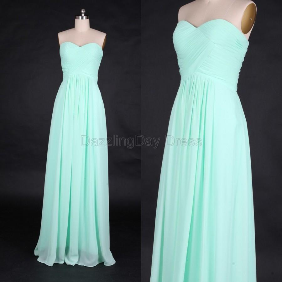 Hochzeit - Mint Chiffon Simple Bridesmaid Dress Long prom Dress Sweetheart Neckline A-line long Prom Dresses with Zipper-up - Bridesmaid Dresses