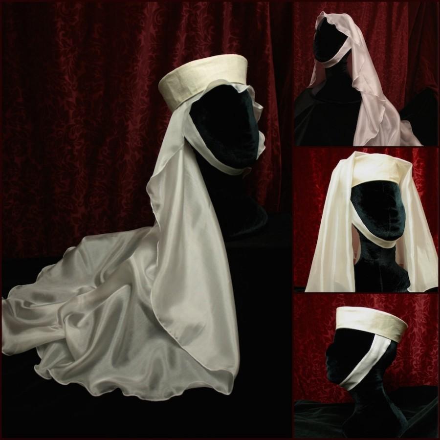Hochzeit - Oval Veil, wedding veil, sheer China Silk, Medieval headdress, Costume hat, Renaissance Faire hat, princess, SCA Garb LARP barbette, filet