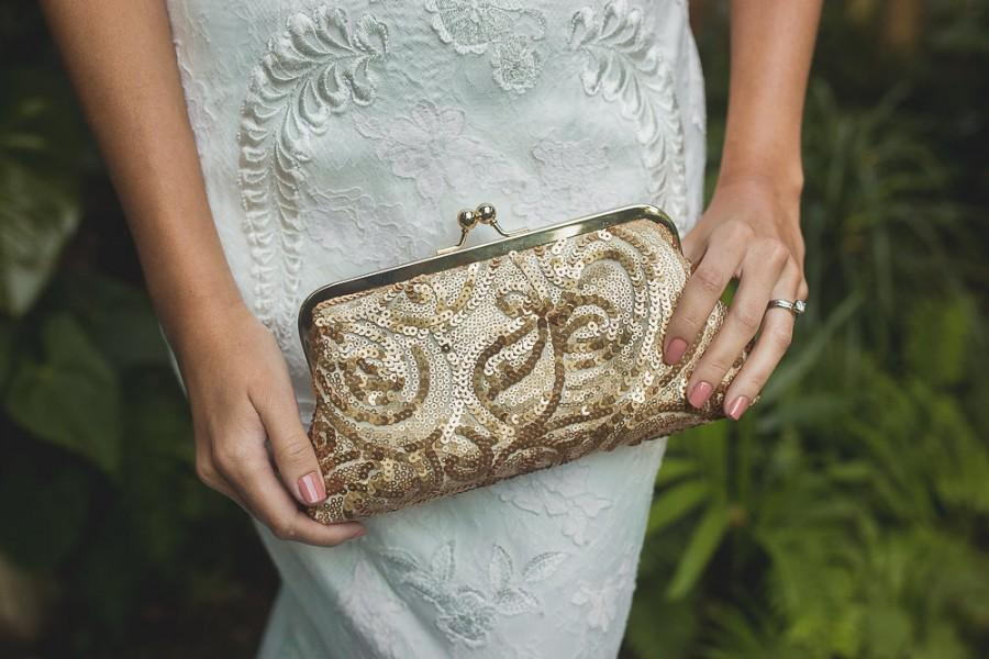 Mariage - Metallic Gold Sequins Clutch for Bride, Bridesmaid, Mothers