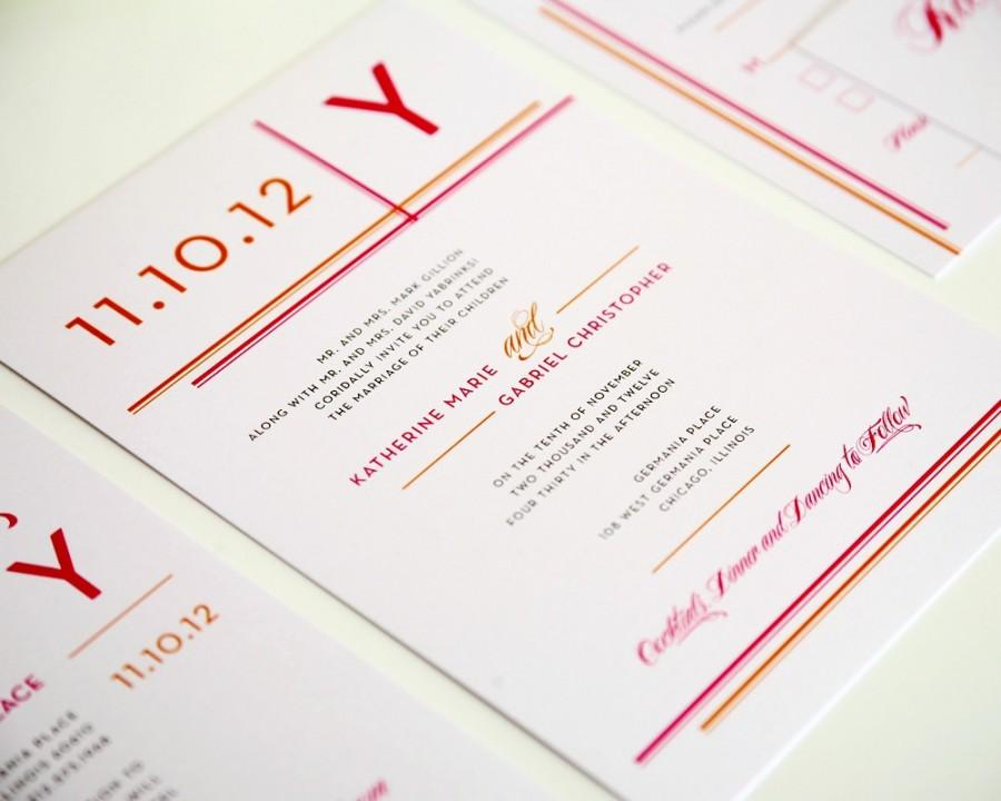 Mariage - Modern Wedding Invitation - Wedding Invite - Stripes, Monogram, Urban, City - Hot Pink, Fuschia, Fuchsia, Orange - Deposit to Get Started